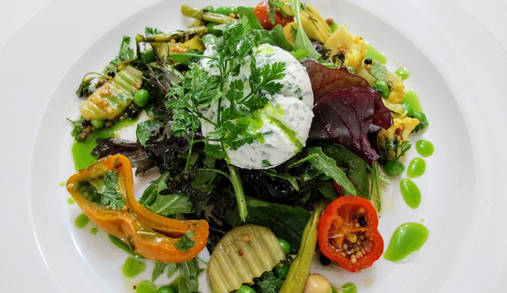 Homemade Labneh with pickled vegetables