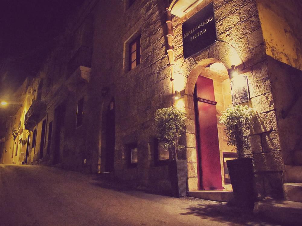 Entrance of Maldonado Bistro on Mons. Vella Street