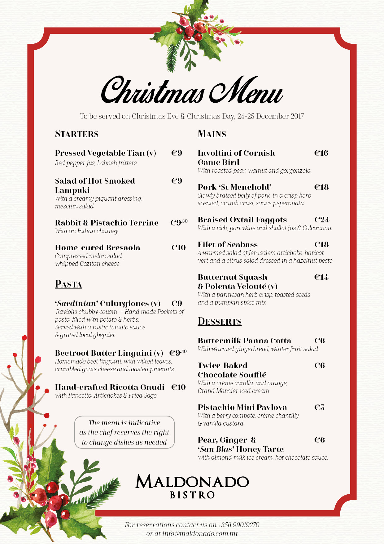 Maldonado Christmas Menu 2017