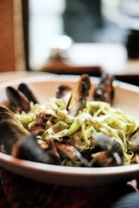 Green Tagliatelle with Smoked Barracuda Mussels