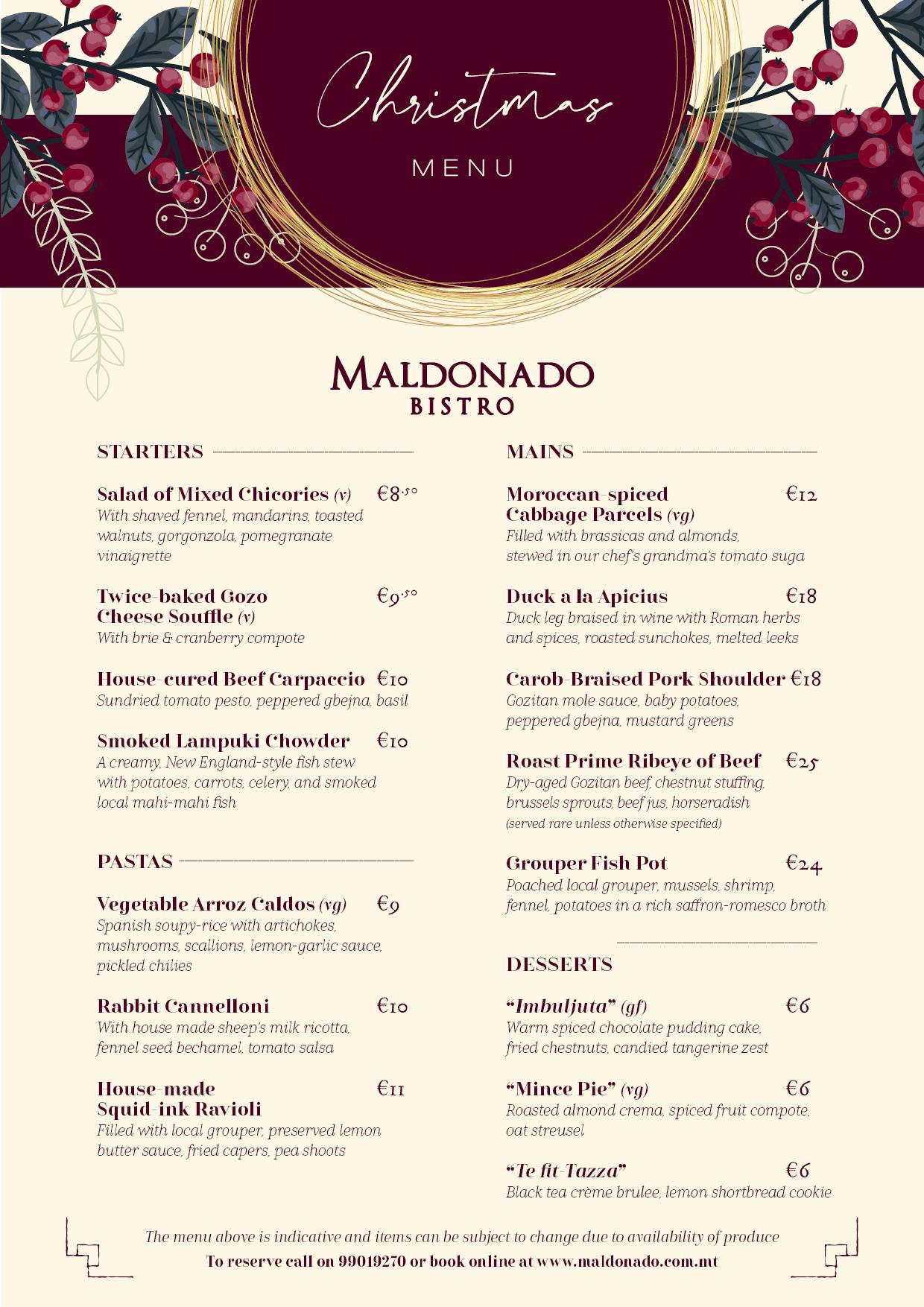 2019 Christmas Menu at Maldonado Bistro