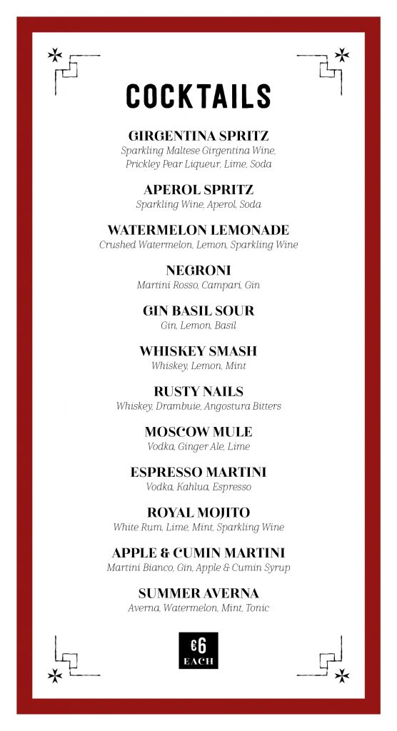 Cocktail Menu Summer 2020